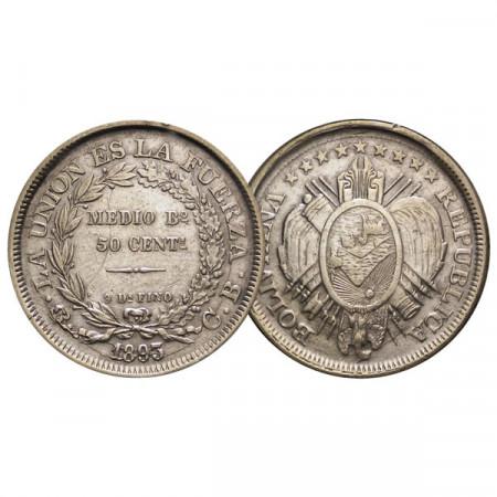 """1893 PTS CB * 1/2 Boliviano / 50 Centavos Silver Bolivia """"La Union Es La Fuerza"""" (KM 161.5) VF"""