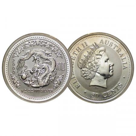 "2000 * 50 Cents Silver 1/2 OZ Australia ""Year of the Dragon"" (KM 522) BU"