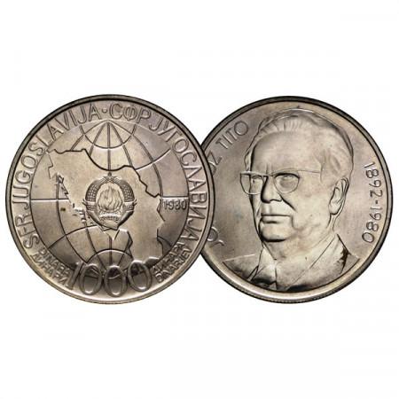 """1980 * 1000 Dinara Silver Yugoslavia """"Death of Joseph Tito"""" (KM 78) UNC"""