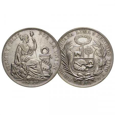 """1914 * 1 Sol Silver Peru """"Seated Female Figure"""" (KM 196) VF+"""