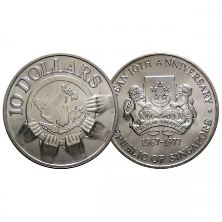 "1977 * 10 Dollars Silver Singapore ""Asean 10th Anniversary"" (KM 16) BU"