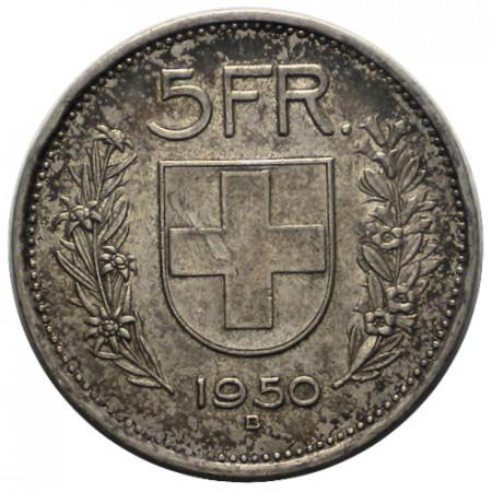 "1950 B * 5 Francs Silver Switzerland ""William Tell"" (KM 40) VF+"