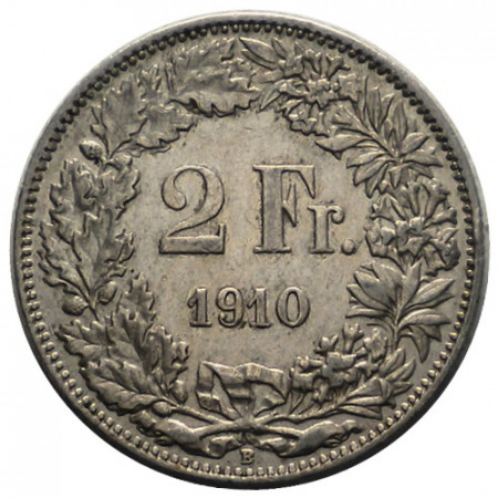 "1910 B * 2 Francs Silver Switzerland ""Standing Helvetia"" (KM 21) VF"