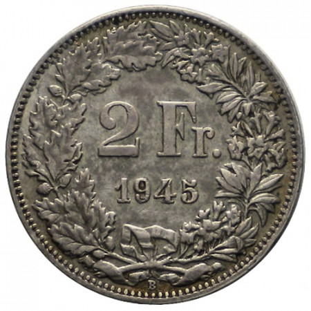 "1945 B * 2 Francs Silver Switzerland ""Standing Helvetia"" (KM 21) VF"