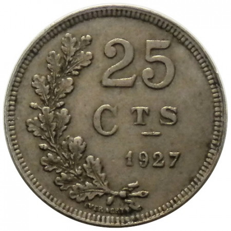 "1927 * 25 Centimes Luxembourg ""Oak Branch"" (KM 37) VF"