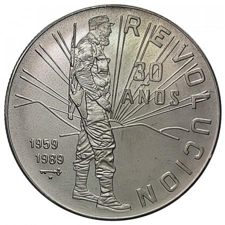 """1989 * 10 Pesos 1 OZ Silver Cuba """"Fidel Castro at Sierra Maestra"""" (KM 241) UNC"""