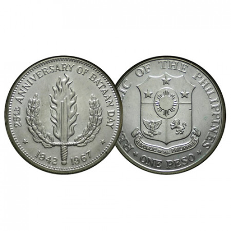"ND (1967) * 1 Peso Silver Philippines ""25th Anniversary of Bataan Day"" (KM 195) UNC"