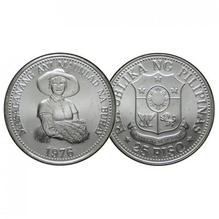 """1976 FM * 25 Piso Silver Philippines """"F.A.O. Series"""" (KM 214) UNC"""