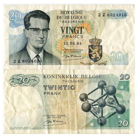 "1964 * Banknote Belgium 20 Francs ""King Baudouin I"" (p138) VF"