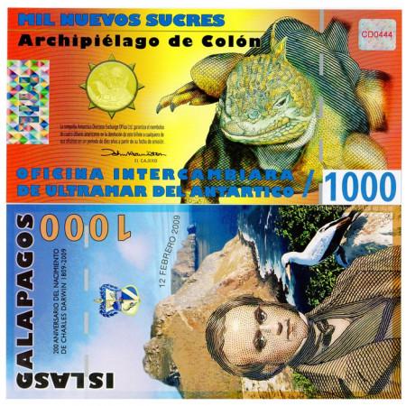 2009 * Banknote Polymer Galápagos Islands 1000 Nuevos Sucres UNC