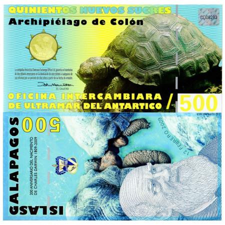 2009 * Banknote Polymer Galápagos Islands 500 Nuevos Sucres UNC
