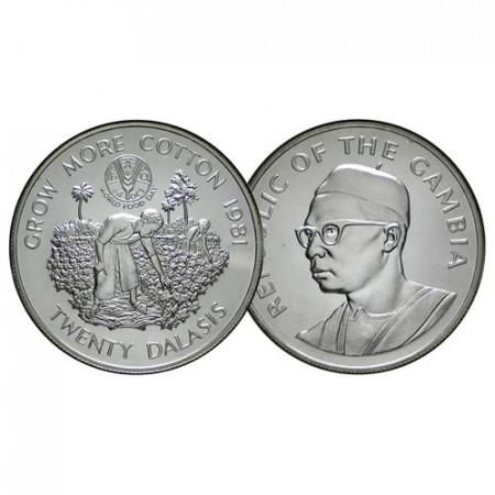 "1981 * 20 Dalasis Silver Gambia ""F.A.O. Series"" (KM 20) UNC"