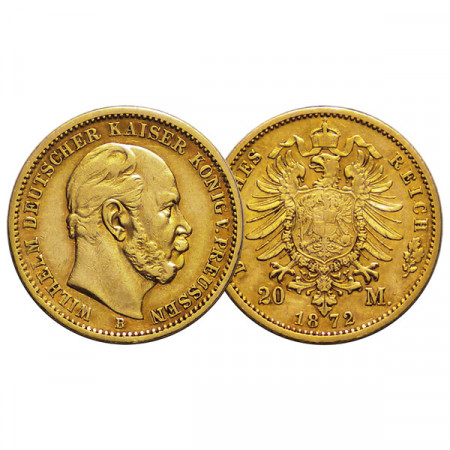 "1872 B * 20 Mark Gold German States ""Prussia - Wilhelm I"" (KM 501) VF"