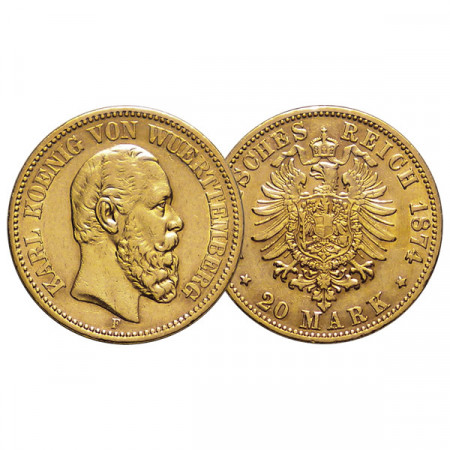 "1874 F * 20 Mark Gold German States ""Württemberg - Karl I"" (KM 625) aXF"