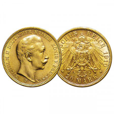 "1910 J * 20 Mark Gold German States ""Prussia - Wilhelm II"" (KM 521) XF"