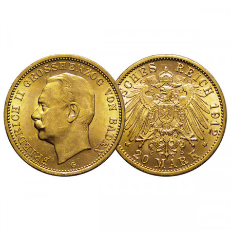 "1912 G * 20 Mark Gold German States ""Baden - Frederick II"" (KM 284) XF+"