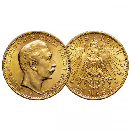 "1912 J * 20 Mark Gold German States ""Prussia - Wilhelm II"" (KM 521) XF+"