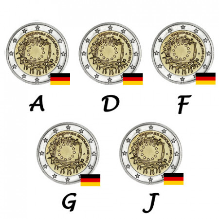 """2015 * 2 Euro GERMANY """"30th Anniversary of the Flag of Europe"""" – 5 Coins"""