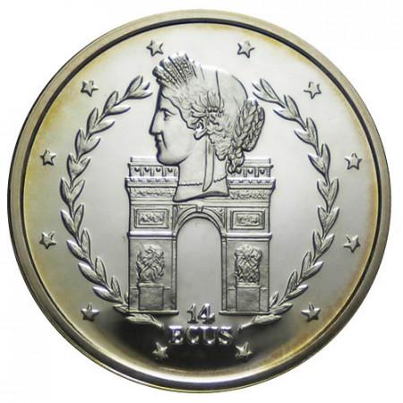 """1995 * 14 Silver Ecus Gibraltar """"L'Arc de Triumph"""" (KM 495) PROOF"""