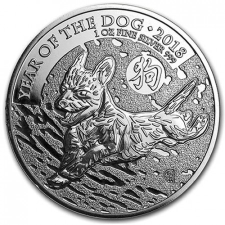 """2018 * 2 Pounds Silver 1 OZ Great Britain """"Year of the Dog"""" BU"""