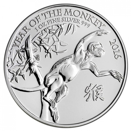 "2016 * 2 Pounds Silver 1 OZ Great Britain ""Year of the Monkey"""