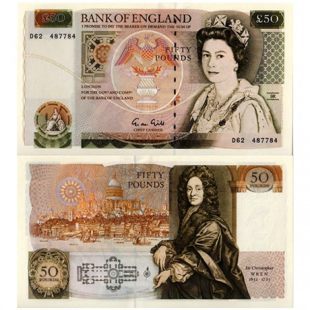 "ND (1988-91) * Banknote Great Britain 50 Pounds ""Sir Christopher Wren"" (p381b) XF+"