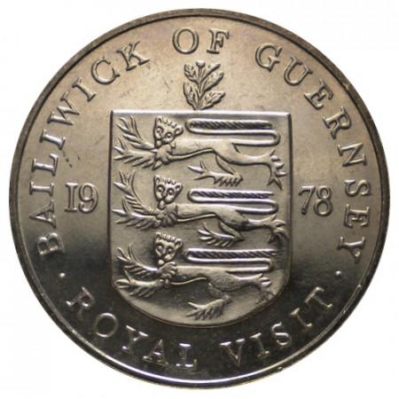 """1978 * 25 Pence Guernsey """"Royal Visit"""" (KM 32) UNC"""