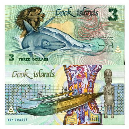 Cook Islands Paper Money 3 Dollars 1987 UNC