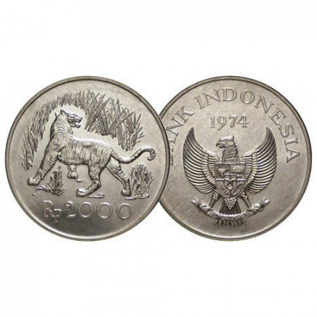 "1974 * 2000 Rupiah Silver Indonesia ""Conservation Species"" (KM 39) UNC"