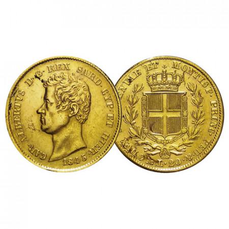 "1845 G (P) * 20 Lire Napoleon Gold Kingdom of Sardinia ""Charles Albert - Genova"" (KM 131.2) VF+"