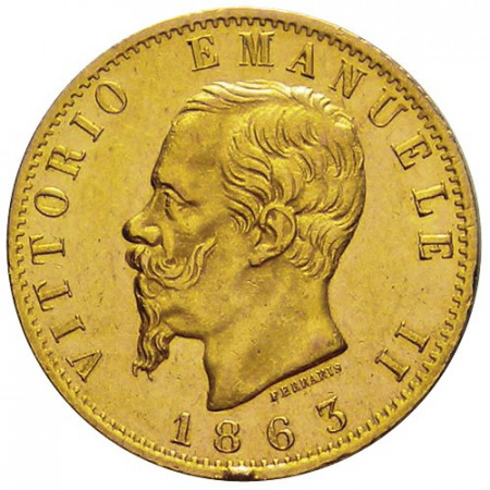 "1863 * 20 Lire Napoleon Gold Kingdom of Italy ""Victor Emmanuel II"" - Turin XF"