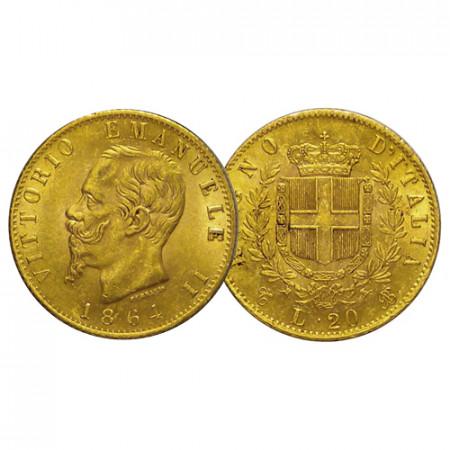 "1864 T * 20 Lire Napoleon Gold Kingdom of Italy ""Victor Emmanuel II - Turin"" (KM 10.1) VF"
