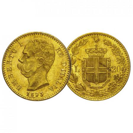 "1893 R * 20 Lire Napoleon Gold Kingdom of Italy ""Humbert I"" (KM 21) VF+"
