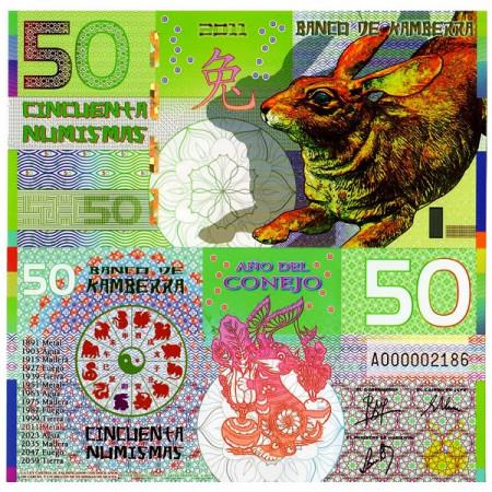 "2011 * Polymer Banknote Kamberra 50 Numismas ""Year of the Rabbit"" UNC"