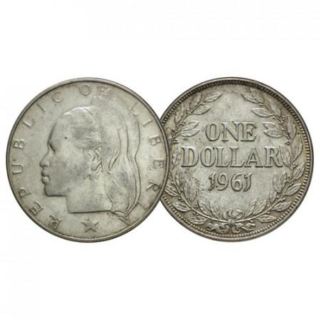 "1961 * 1 Dollar Silver Liberia ""Woman Head"" (KM 18) XF+"