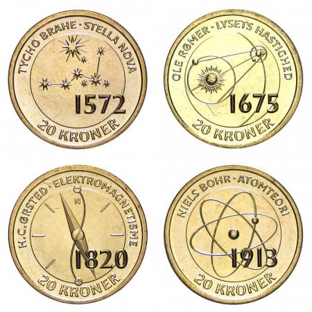 2013 * set 4 pieces 20 kroner Denmark Danish scientists