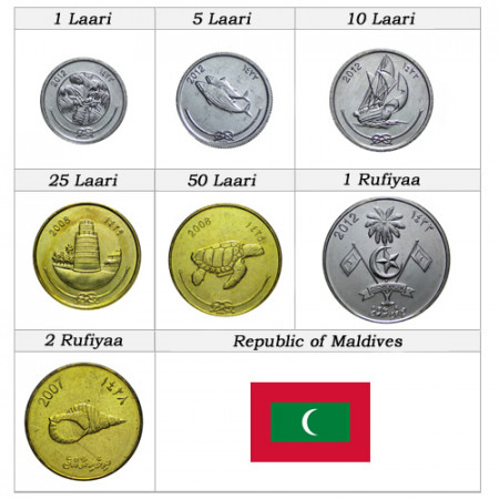 Mixed Years * Series 7 coins Maldives
