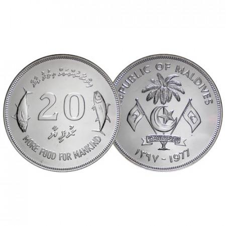 """AH1397 (1977) * 20 Rufiyaa (Rupees) Silver Maldives """"F.A.O. Series"""" (KM 56) UNC"""