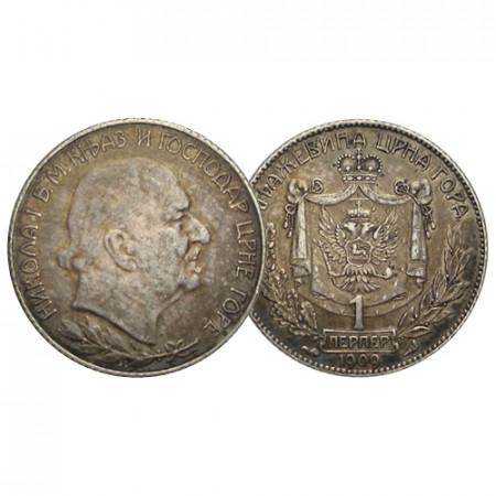 "1909 * 1 Perper Argento Montenegro ""Nicola I"" (KM 5) qSPL"