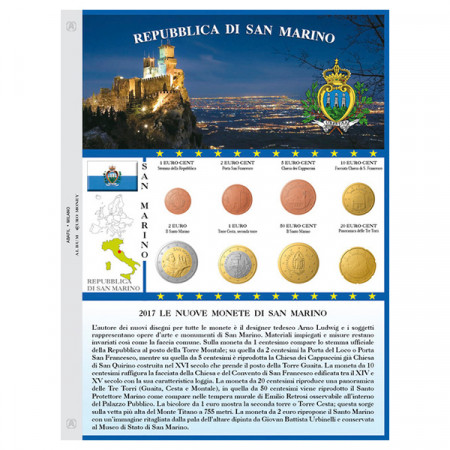 "Sheet + Pochet Coins Euro SAN MARINO ""New Design"" 2017 * ABAFIL"
