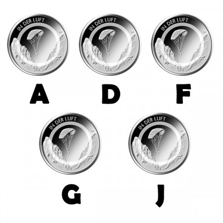 """2019 * 5 x 10 Euro Metal Polymer GERMANY """"In the Air"""" 5 Coins UNC"""