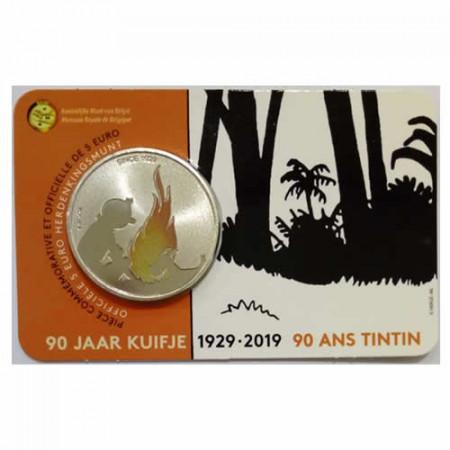 """2019 * 5 euro BELGIUM COLORED """"90th Tintin"""" Coincard BU"""