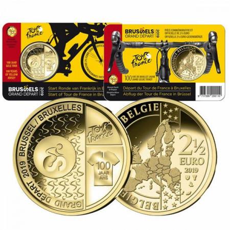 """2019 * 2,5 Euro BELGIUM """"100 Years Of The Tour De France"""" Coincard"""