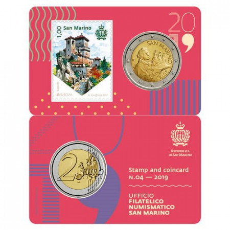 "2019 * Coincard SAN MARINO 2 Euro ""Stamp and Coin - 04"" BU"