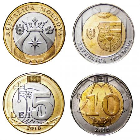"2018 * Set 2 Coins 5+10 Lei Moldova ""Lei"" UNC"