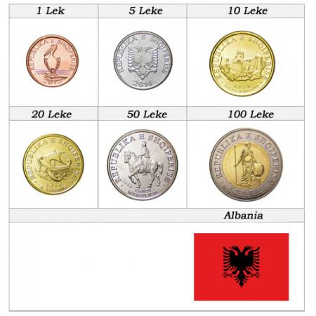 "Mix * Series 6 Coins Albania ""Leke"" UNC"