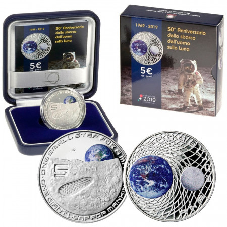 """2019 * 5 Euro ITALY """"50th Landing First Man On The Moon"""" PROOF"""