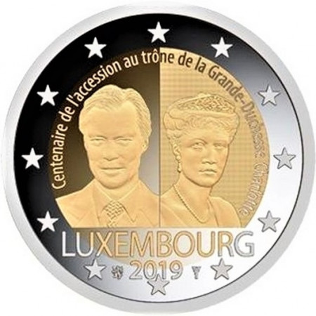 """2019 * 2 Euro LUXEMBOURG """"100th Anniversary of Grand Duchess Charlotte"""" UNC - Rolled Version"""