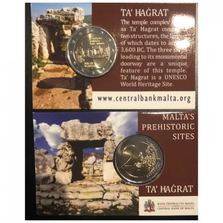 "2019 * 2 Euro MALTA ""Ta' Ħaġrat Megalithic Temple"" Coincard"