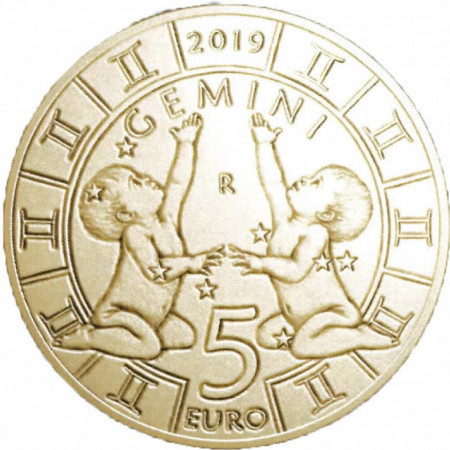 "2019 * 5 Euro Bronzital SAN MARINO ""Zodiac Series - Gemini"" UNC"